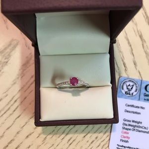Stunning natural ruby with 14k gold & diamonds